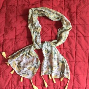 Accessories - Yellow and Green Floral fringed rectangular scarf